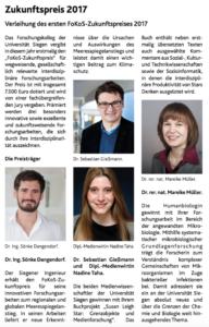 FoKoS-Zukunftspreis der Universität Siegen 2017