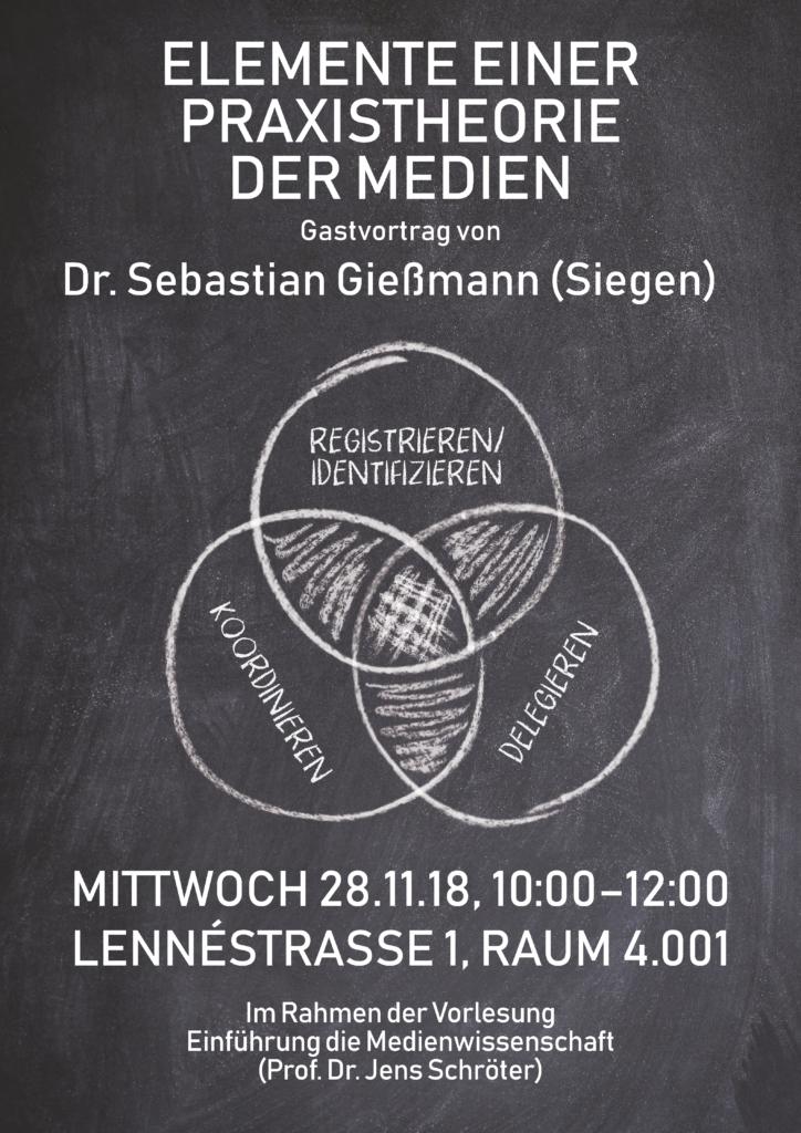 Plakat Gastvortrag Elemente einer Praxistheorie der Medien