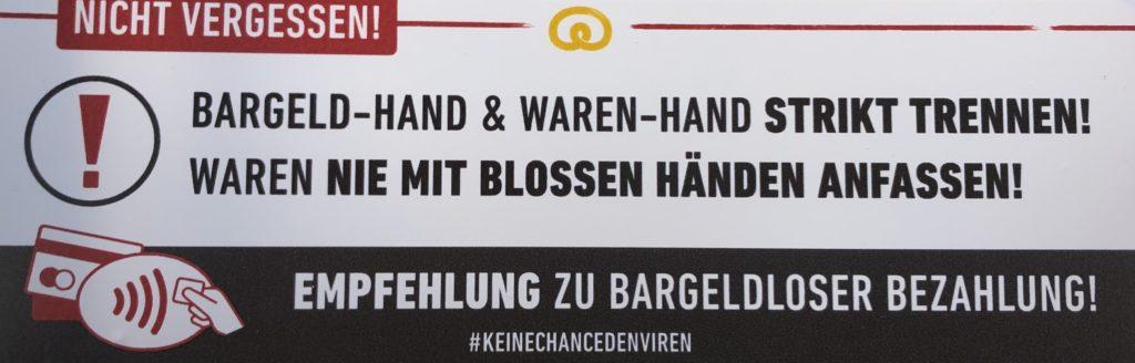 Bezahlinfrastruktur zu Coronazeiten Köln 27.3.2020